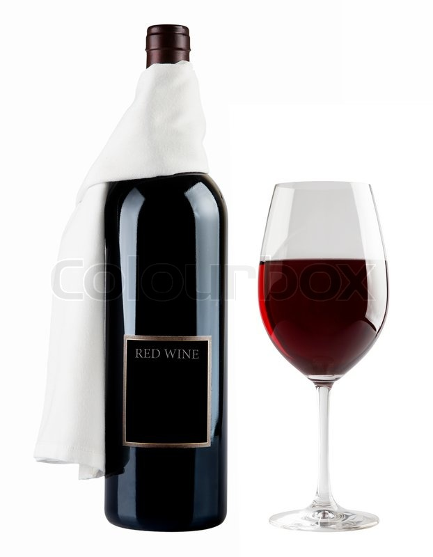 No tired wine bottle and glass on white background stock for Red glass wine bottles suppliers