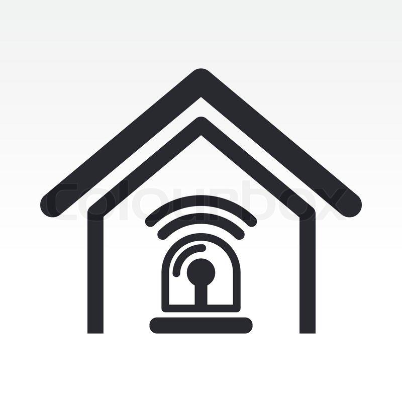 Stock-Vektor von  Vektor-Illustration von Hause Alarmsymbol Home Automation System Icon