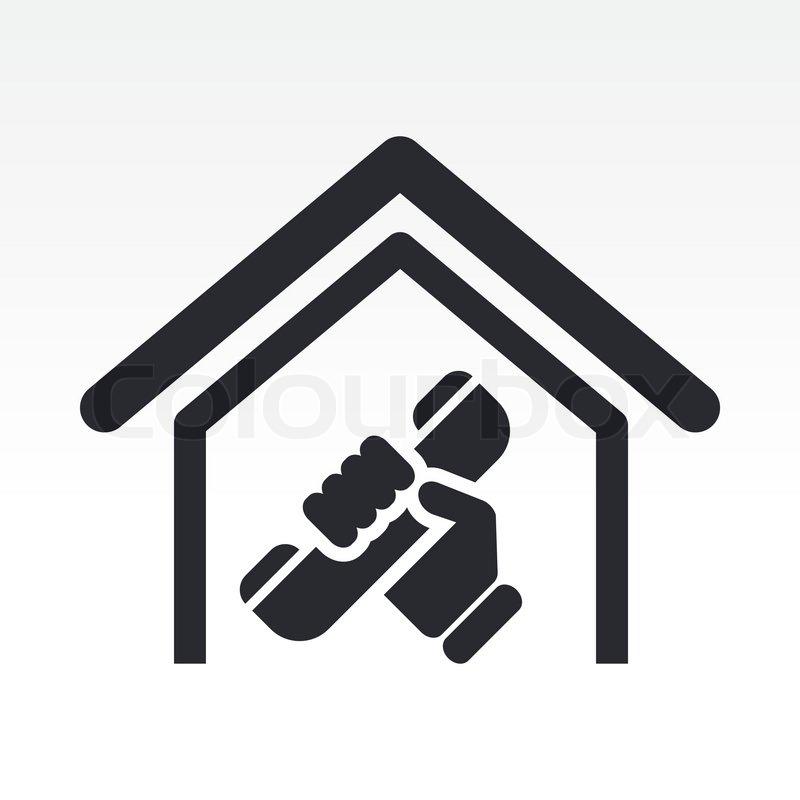 vektor illustration von isolierten haus telefon symbol vektorgrafik colourbox. Black Bedroom Furniture Sets. Home Design Ideas