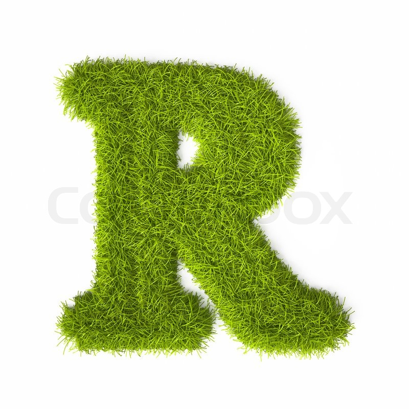 Grass Style Latin Alphabet Letter R Isolated On White Background