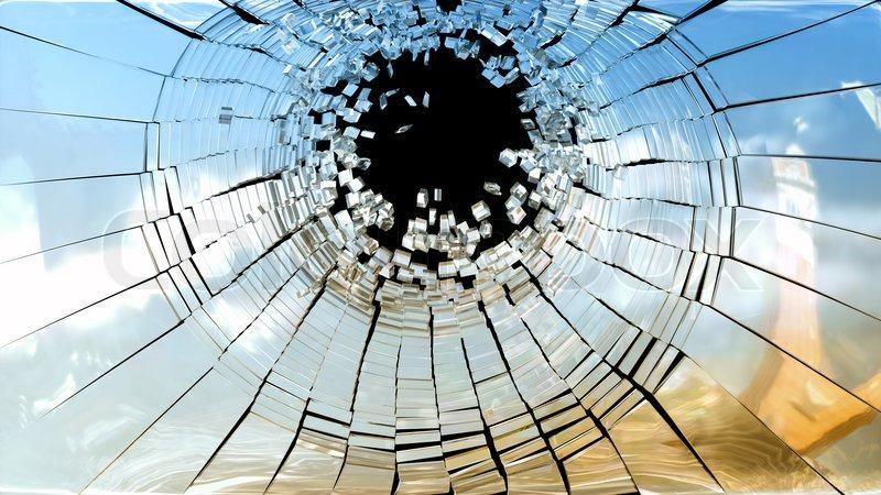 Tatort zerbrochenen spiegel glas stockfoto colourbox for Spiegel zerbrochen