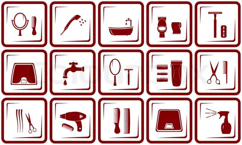 haar-pflege und badezimmer-symbole | vektorgrafik | colourbox, Hause ideen