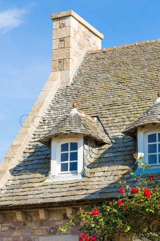 Beautiful House In French Brittany Typical Stock Photo