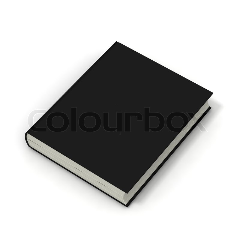 Blank Black Book Cover : Blank book with black cover on white background stock