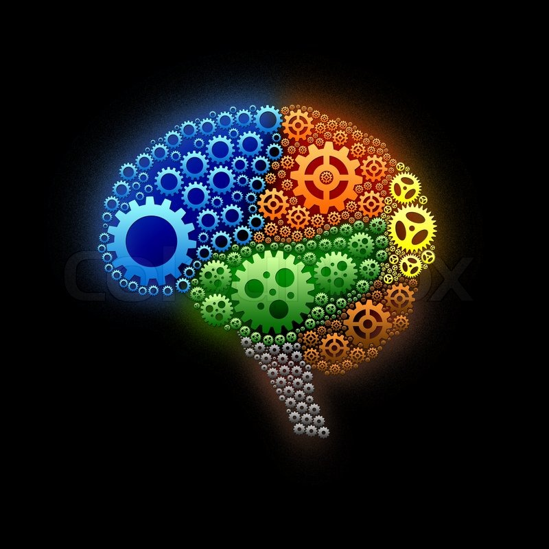 brain gear with text on color background design stock photo colourbox