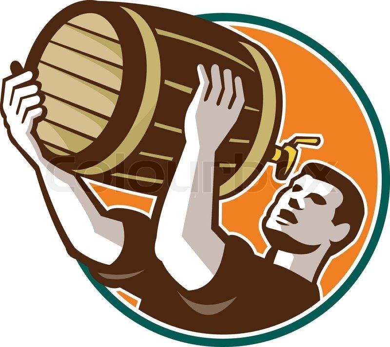 Barkeeper Gießen trinken Keg Fass ... | Vektorgrafik ...