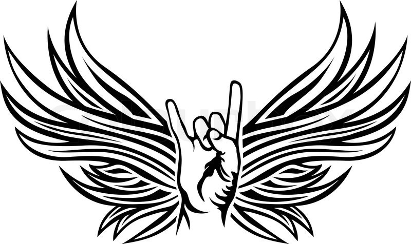 Rock And Roll Hand Sign With Wings Tattoo Stencil Stock Vector