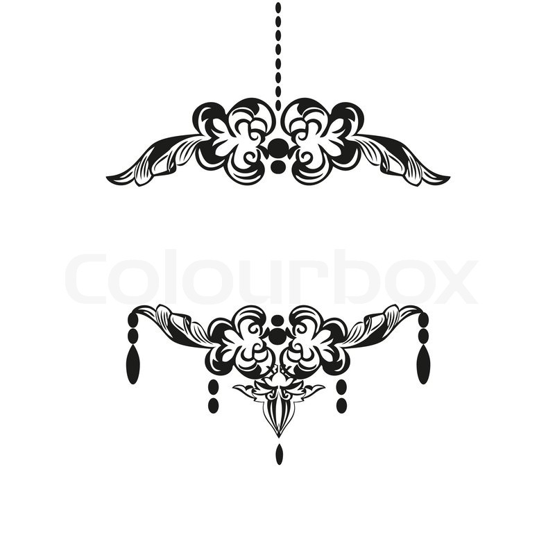 Black chandelier silhouette with candles stock vector colourbox mozeypictures Choice Image
