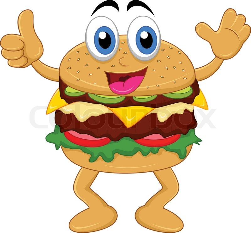 Vector Illustration Of Burger Cartoon Characters Stock