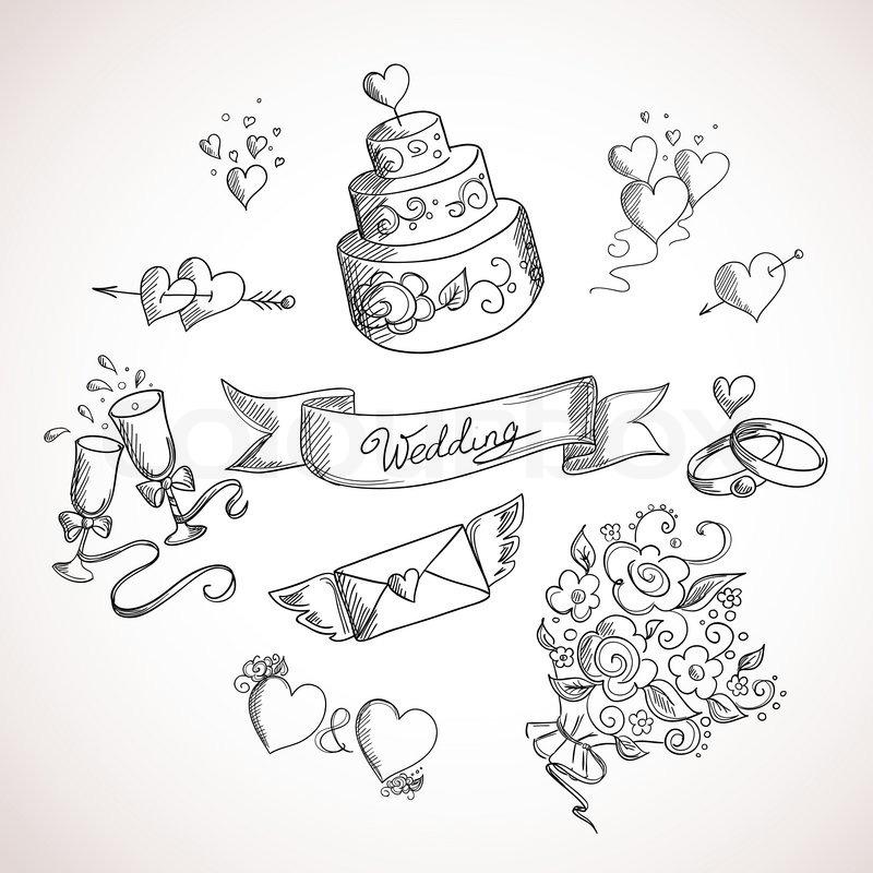 Skizze der Hochzeit Design-Elemente  Vektorgrafik  Colourbox