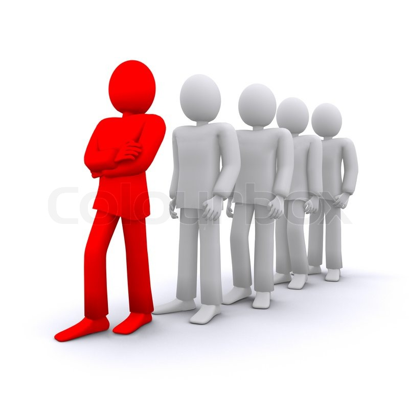confident team leader with his people 3d illustration stock photo