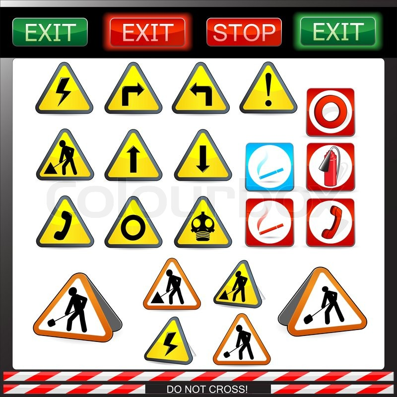Big Set Of Shiny Under Construction Warning And Fire Safety Signs