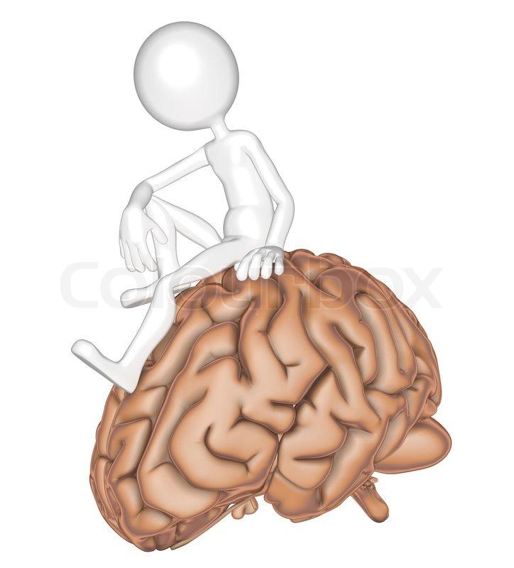 3D Person sitzt auf einem Gehirn | Stockfoto | Colourbox