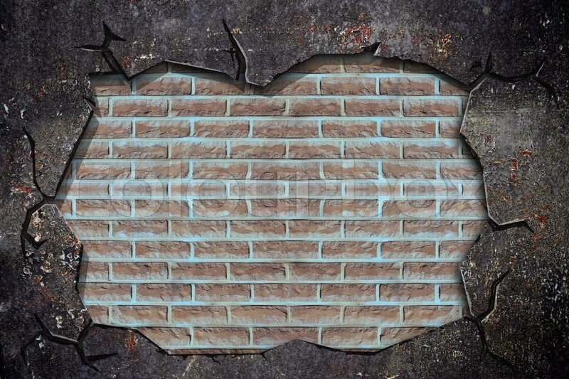 Broken grunge wall with brick wall inside, stock photo