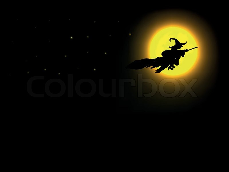 the halloween witch flying over the moon stock vector colourbox - Flying Halloween Witch
