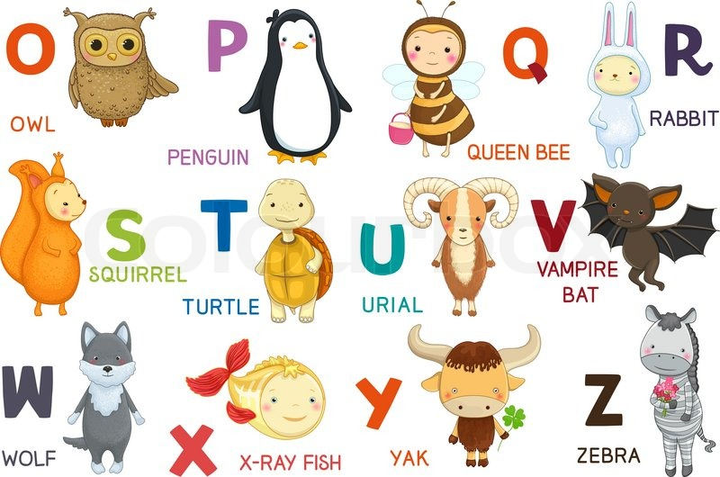 Animals ABC letter O Z Cartoon characters animals and alphabet