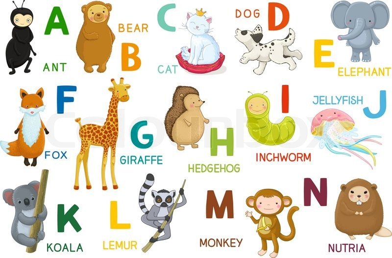 animals abc letter a n cartoon characters animals and alphabet