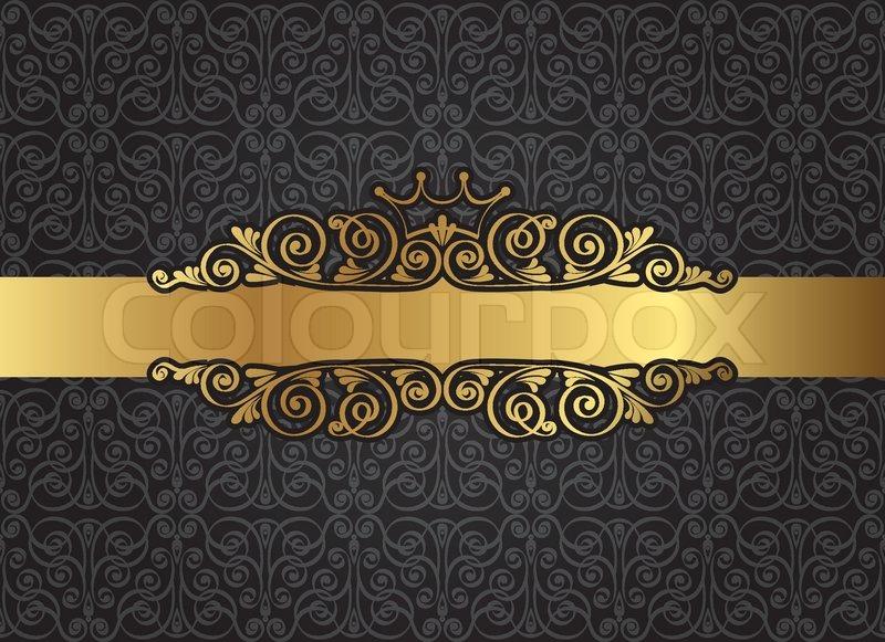 Vintage Gold Frame On Damask Black Background Vector Illustration