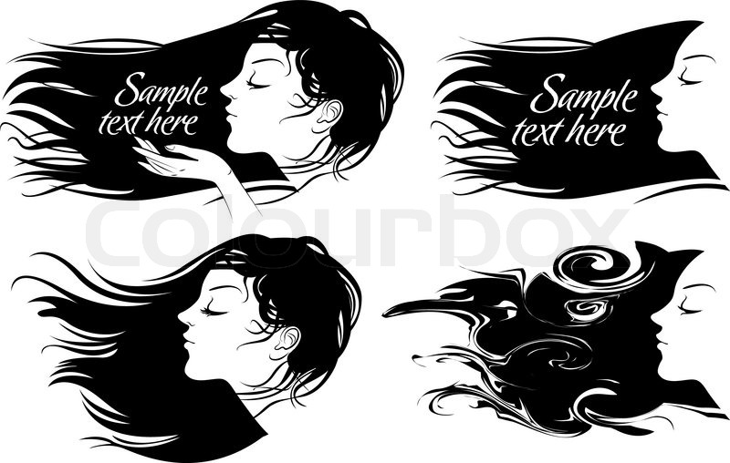 beautiful girl with long hair hair fluttering wind vector