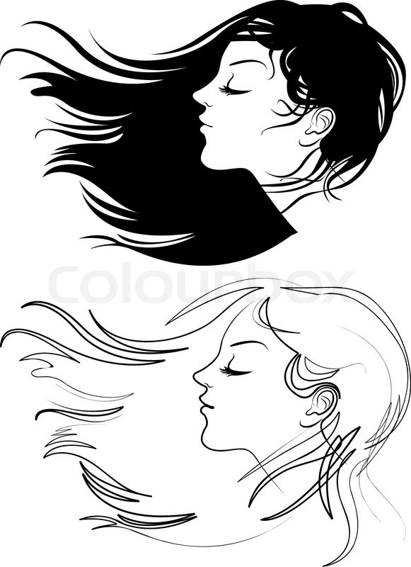 Face Woman Profile Vector Silhouette Stock Vector