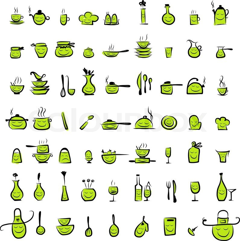 Kitchen Tools Drawings kitchen utensils characters, sketch drawing icons for your design