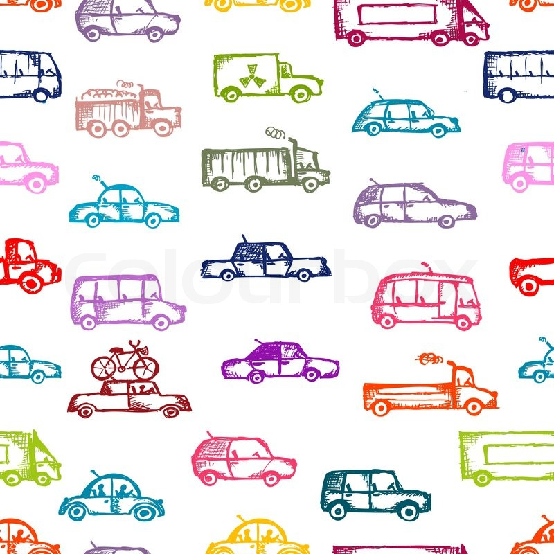 toy cars collection seamless pattern for your design stock vector