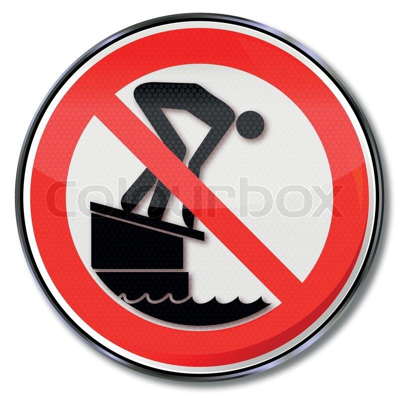 Verbotsschild bitte nicht vom Startblock ins Becken ...