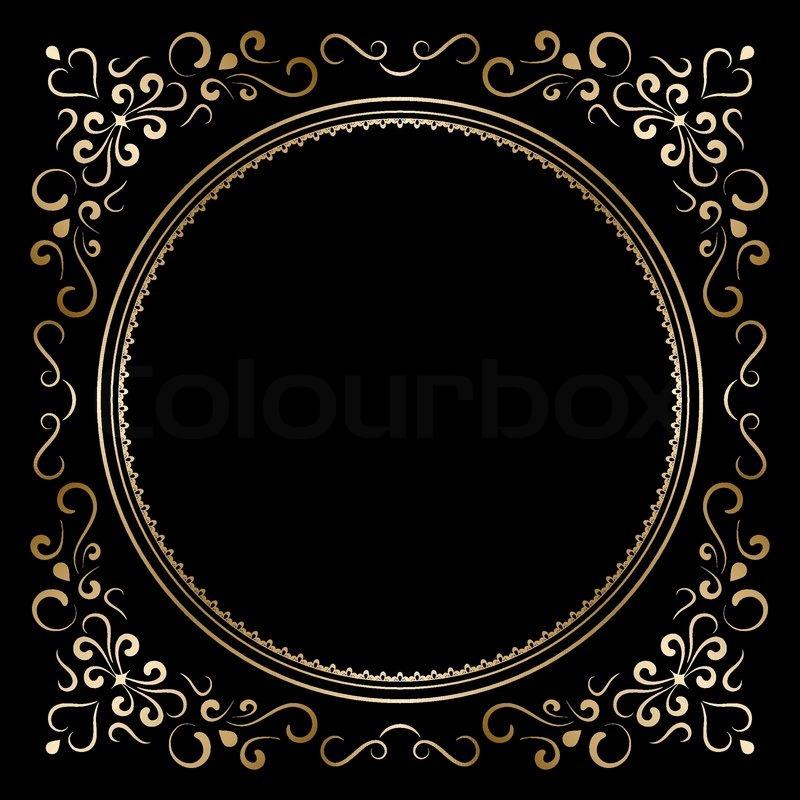 Decorative Gold Frame On Black Stock Vector Colourbox