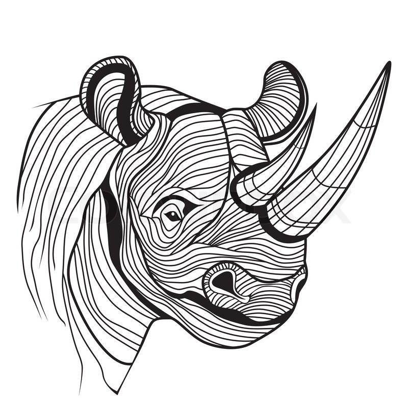 Rhino rhinoceros animal head as symbol for mascot or emblem design rhino rhinoceros animal head as symbol for mascot or emblem design logo vector illustration for t shirt sketch tattoo design stock vector colourbox ccuart Gallery