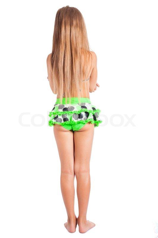 Zur ck von kleinen m dchen im badeanzug isoliert auf wei em hintergrund stockfoto colourbox - Kleine teen indelingen meisje ...