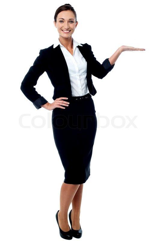 businesswoman presenting something stock photo colourbox
