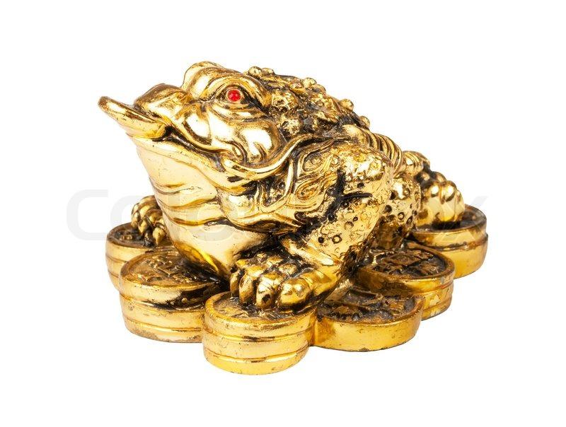 chinesische feng shui frosch mit m nzen symbol von geld und reichtum stockfoto colourbox. Black Bedroom Furniture Sets. Home Design Ideas