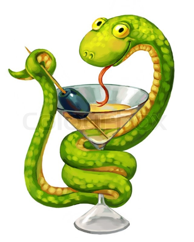 Green Snake Martini Glass With Olive Snake On Cup Medicine Symbol