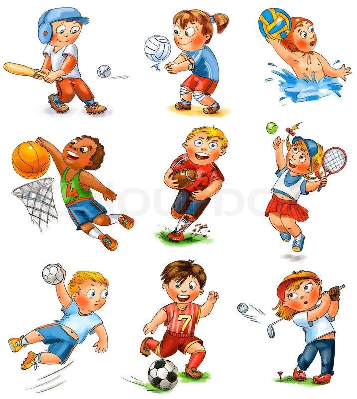 stock image of child participation in sports baseball volleyball water polo