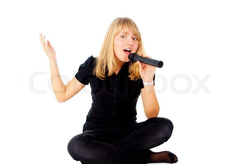 sch ne blondine singt in mikrofon stockfoto colourbox. Black Bedroom Furniture Sets. Home Design Ideas