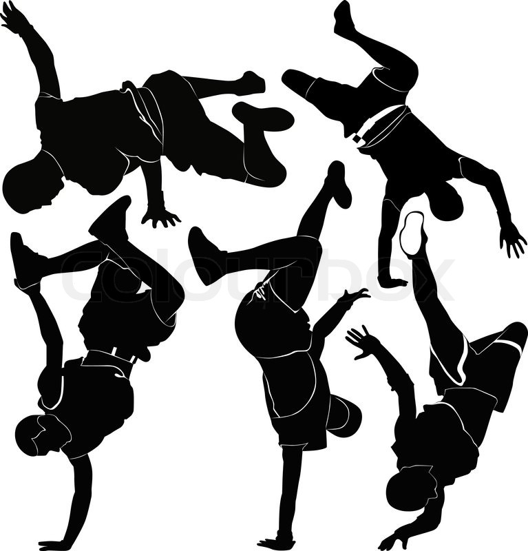 Collection breakdance silhouette break dance | Stock ...