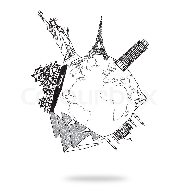 Stock Image Of Drawing Travel Around The World JapanFranceItalyNew