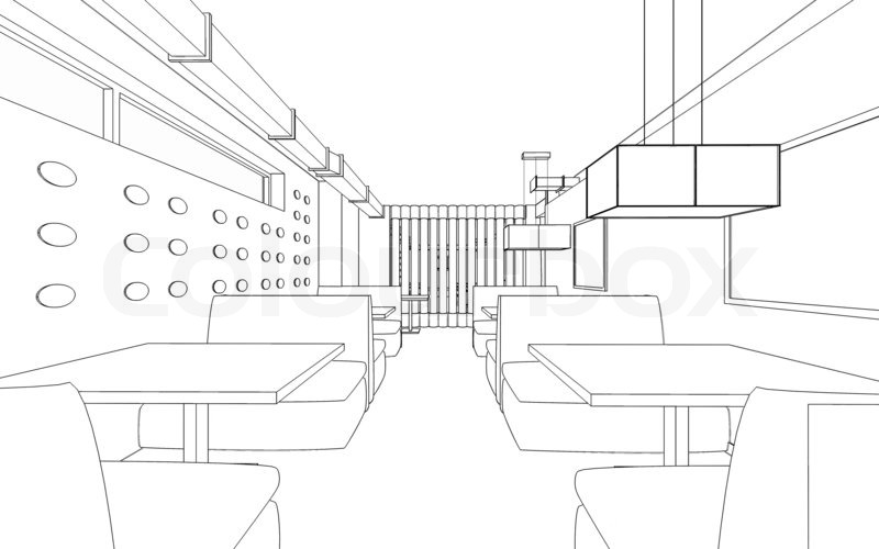 Draft Design Of The Restaurant 3d Graphic Design Interior