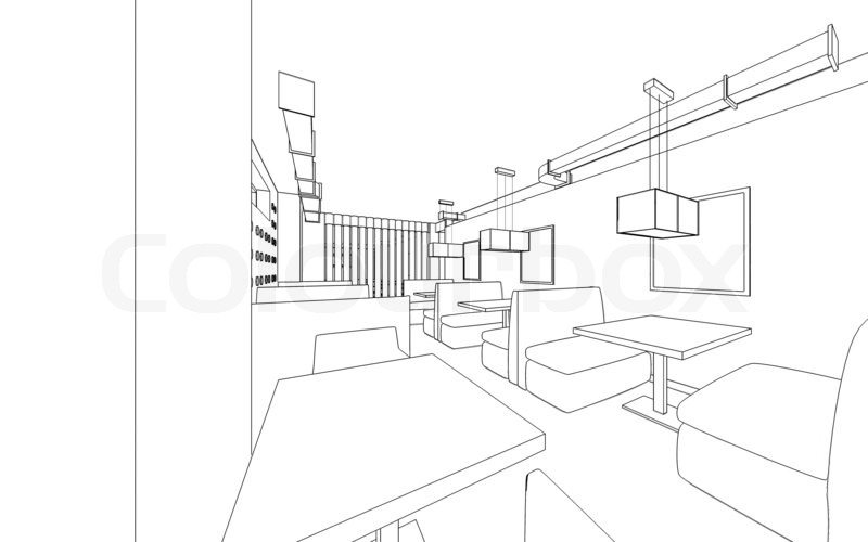 Draft design of the restaurant d graphic interior