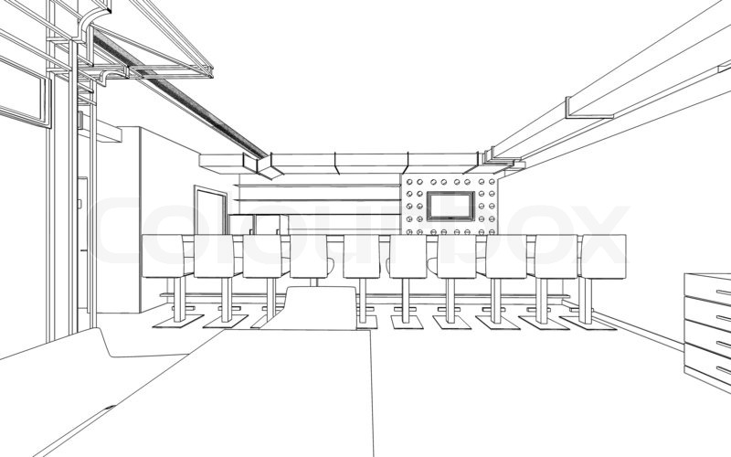 Draft Design Of The Restaurant 3D Graphic Interior