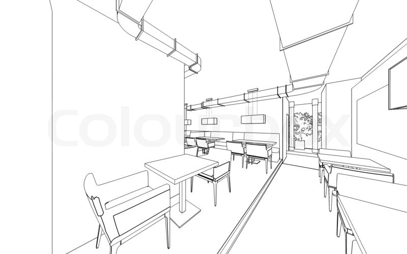 draft design of the restaurant  3d