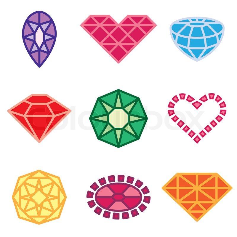 Juwelen und Diamanten Icons set | Vektorgrafik | Colourbox