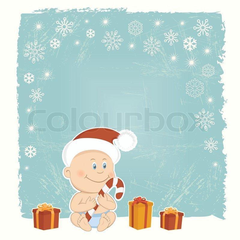 retro weihnachtskarte mit baby santa stock vektor colourbox. Black Bedroom Furniture Sets. Home Design Ideas