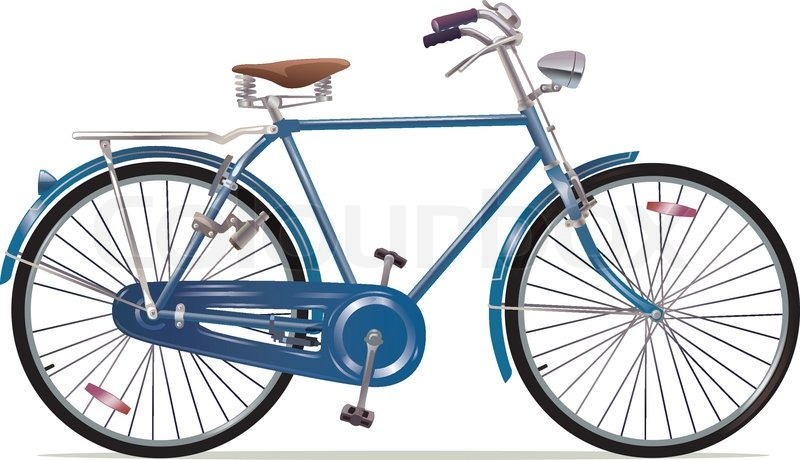 The Old Blue Classic Bicycle This Is Stock Vector