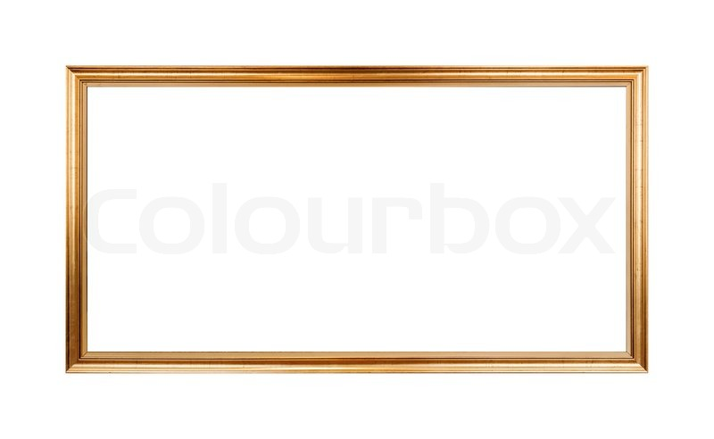 Empty Horizontal Wooden Frame Painted With Gold Paint Isolated On