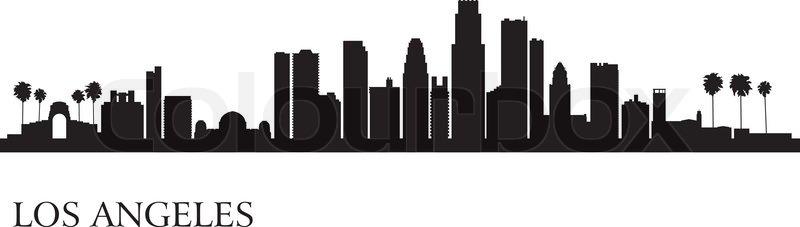 los angeles city skyline silhouette background vector illustration rh colourbox com Los Angeles Drawings Los Angeles Clip Art