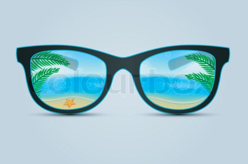 Sommer solbriller med beach refleksion | Stock vektor