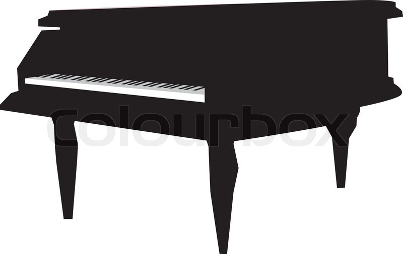 Grand Piano Silhouette Vector Illustration Stock Vector