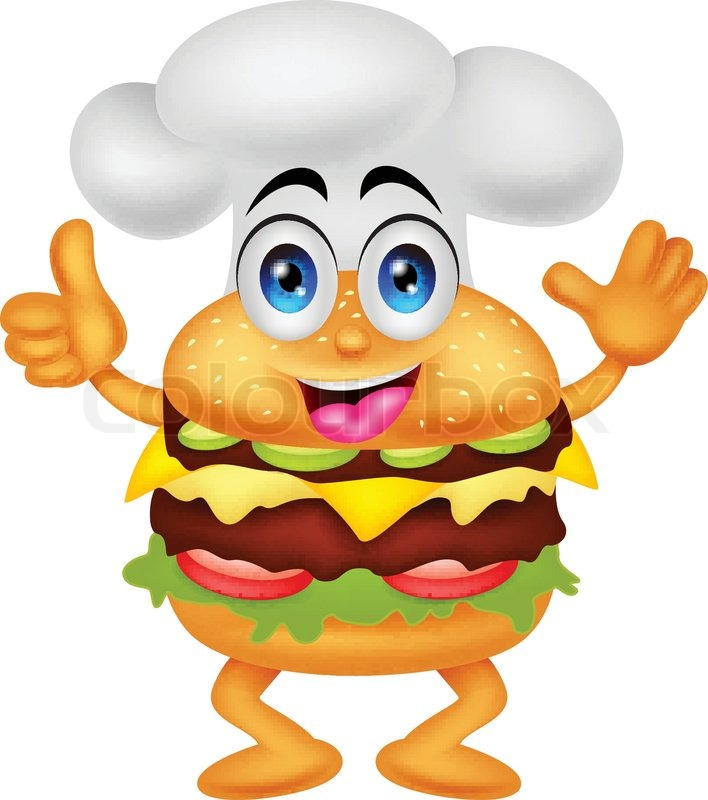 vector illustration of funny cartoon burger chef character Chef Cooking Hat Clip Art free chef hat clipart