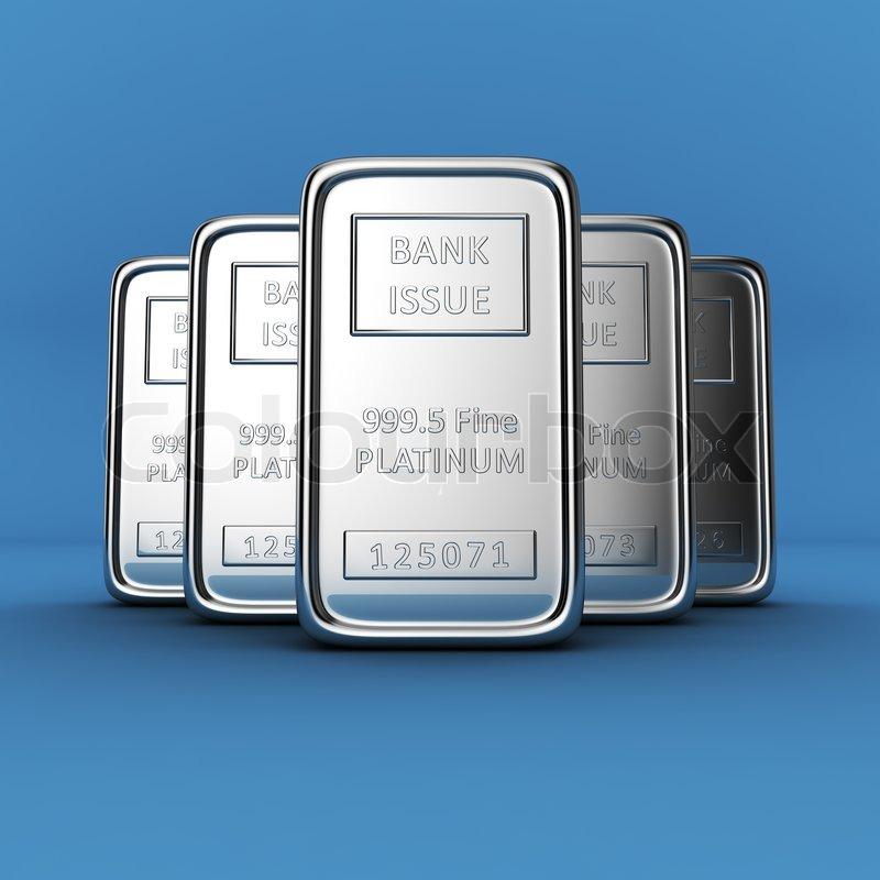 Platinum ingots on blue | Stock Photo | Colourbox